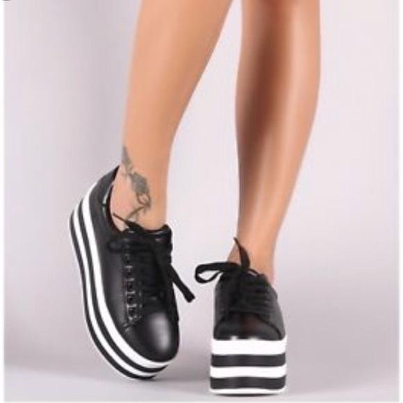 210bb1c188 Qupid Shoes | Womens Black And White Wedge Sneaker | Poshmark